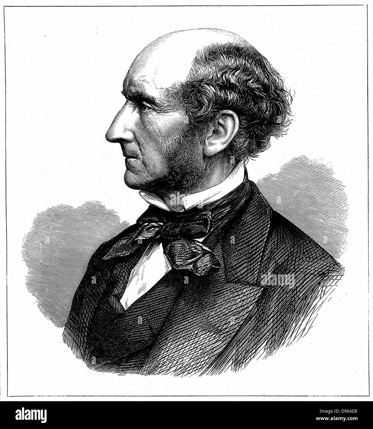 John Stuart Mill (1806-73) el reformador social británico y filósofo. Grabado en madera publicado en el momento Foto de stock