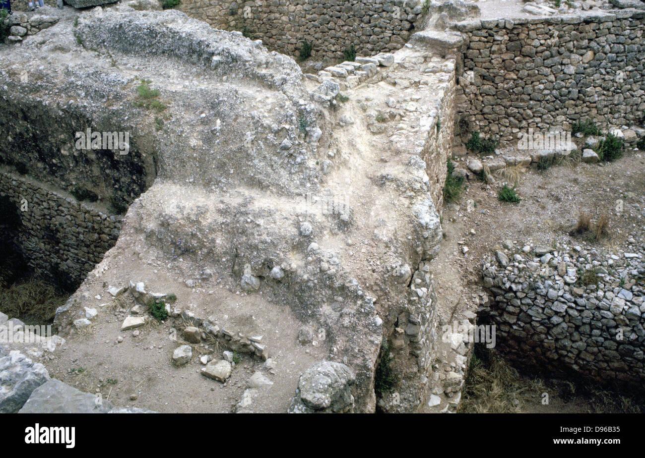 Ruinas de la ciudad griega de Mycenea prehistóricos. Casa de Agamenón y el capital de los griegos aqueos c1450-c1100 Foto de stock