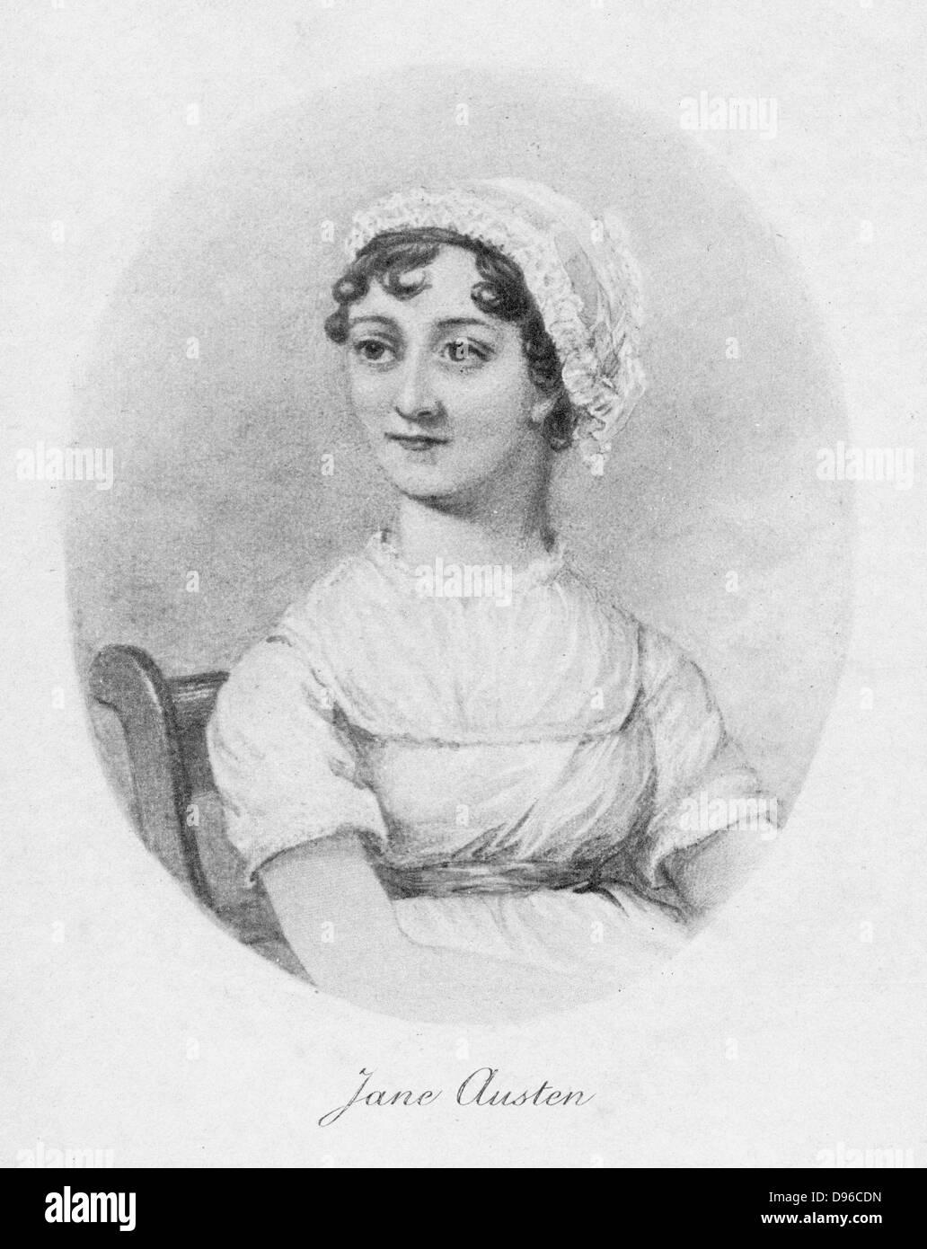 """Jane Austen (1775-1817) c1810, 1902. Novelista inglesa recordada por sus seis grandes novelas """"Sentido y sensibilidad"""", Imagen De Stock"""