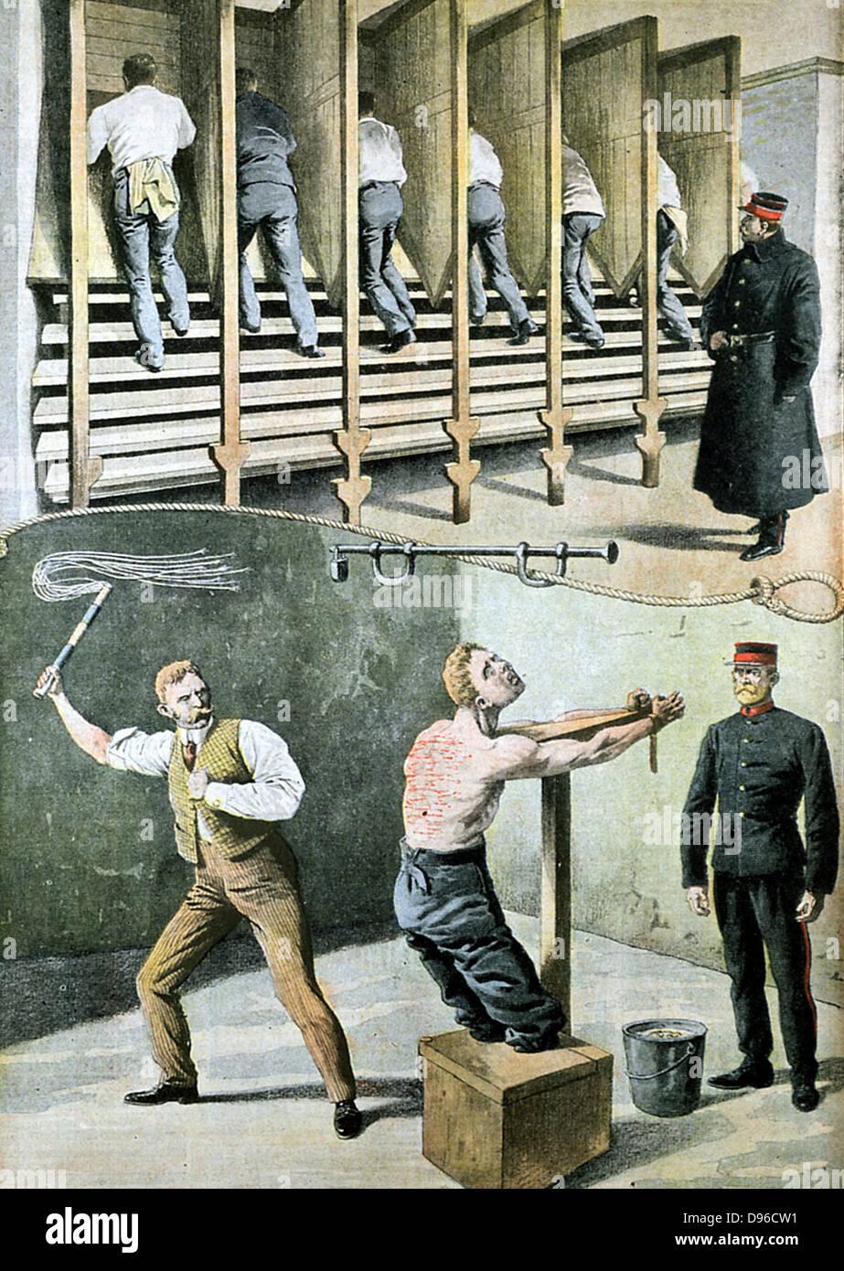"""English la vida carcelaria: andadera para trabajos forzados, y el castigo con el gato de nueve colas"""". Francia Imagen De Stock"""