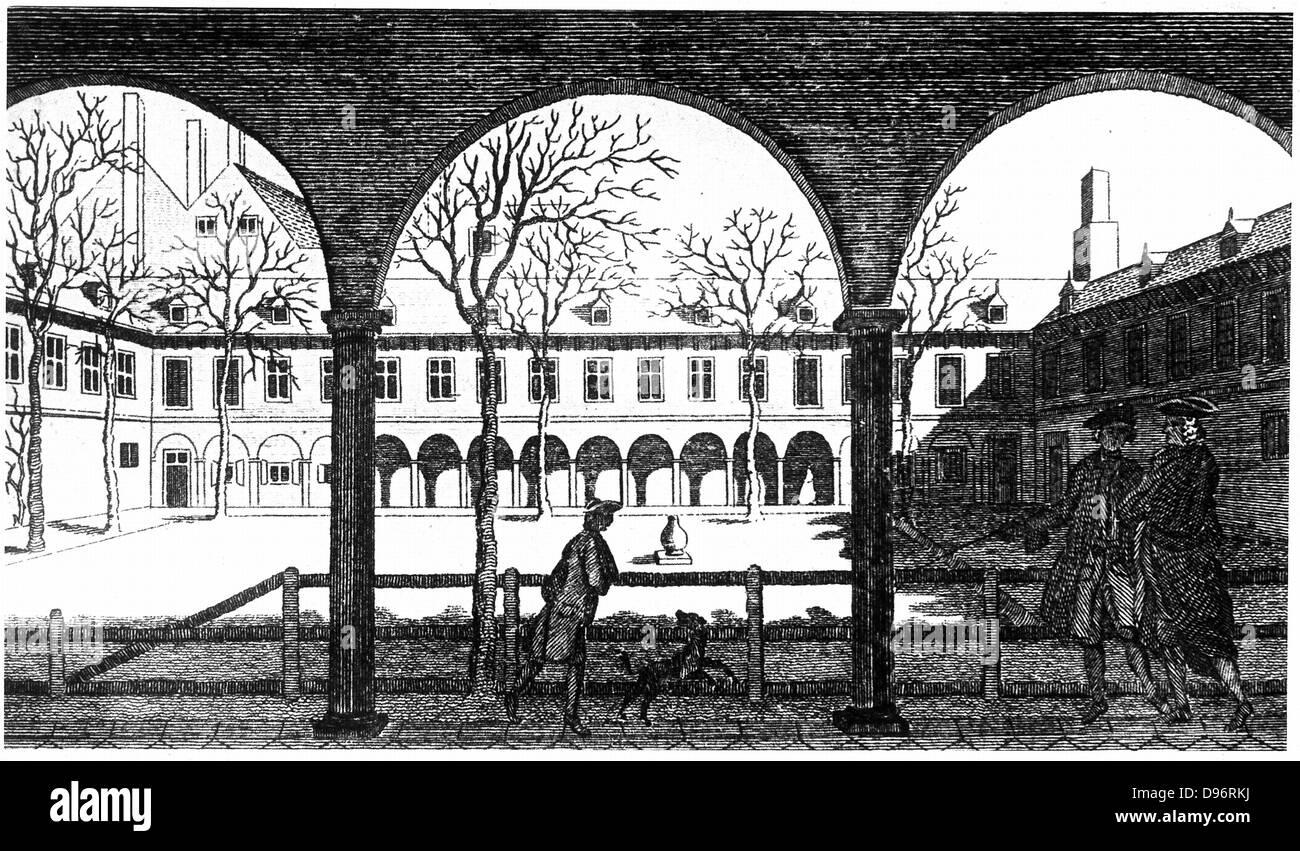 Patio de Gresham College, desde el siglo xviii grabado. Aunque sus verdaderos orígenes son un poco antes, la Imagen De Stock