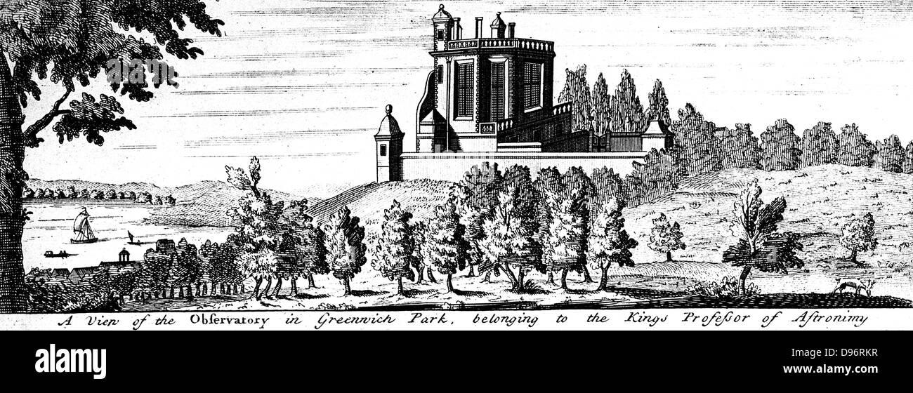 Flamsteed House en Greenwich Park, Londres, diseñado por Christopher Wren, bajo las órdenes de Charles Imagen De Stock