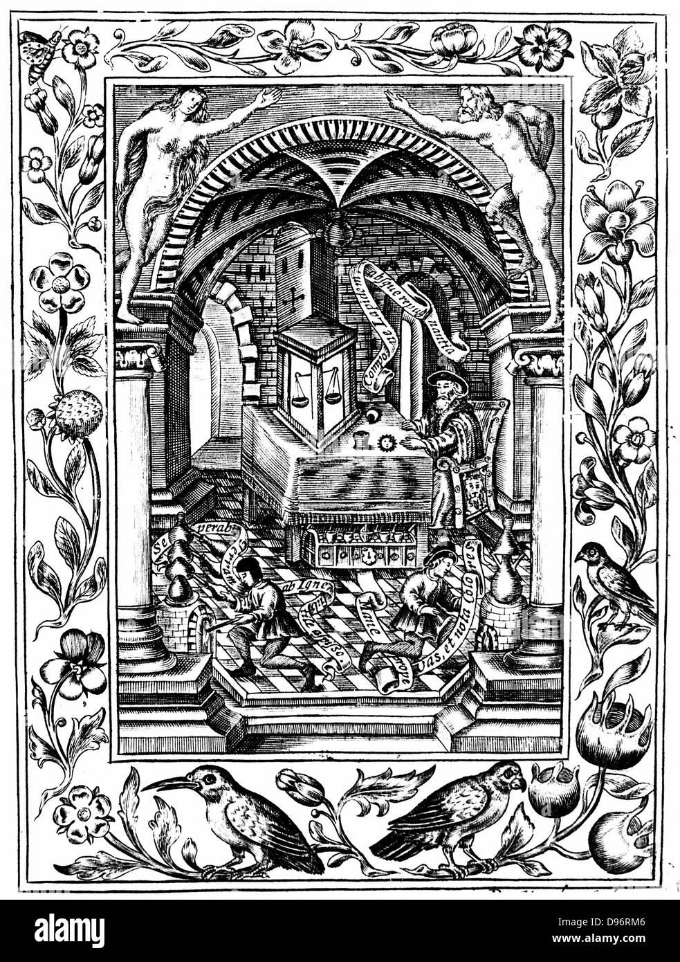Thomas Norton (FL1477) Laboratorio. Grabado después de manuscrito en el Museo Británico de Londres, que Imagen De Stock