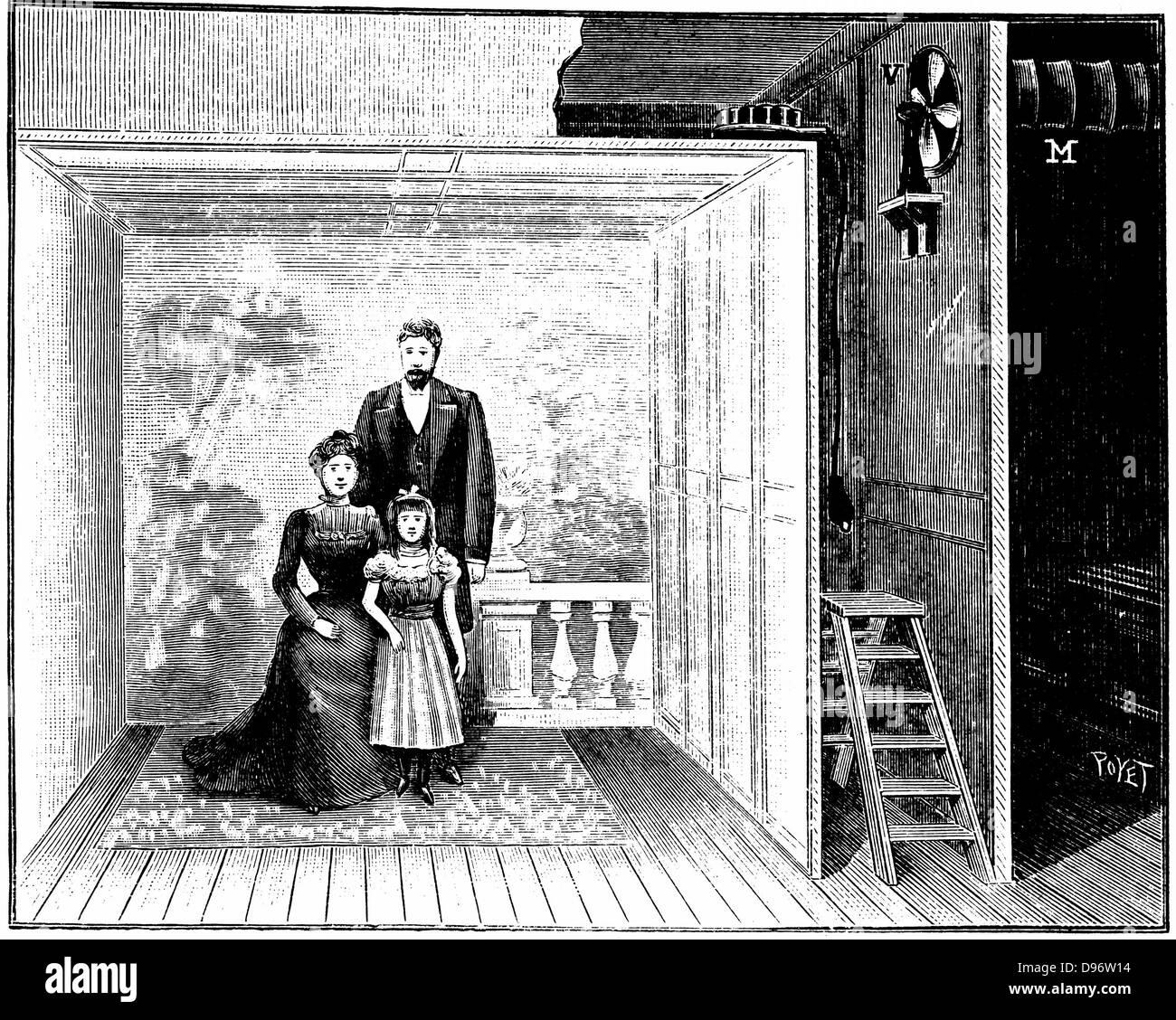 Boyer\'s estudio fotográfico, un marco de madera con una gasa-como el ...