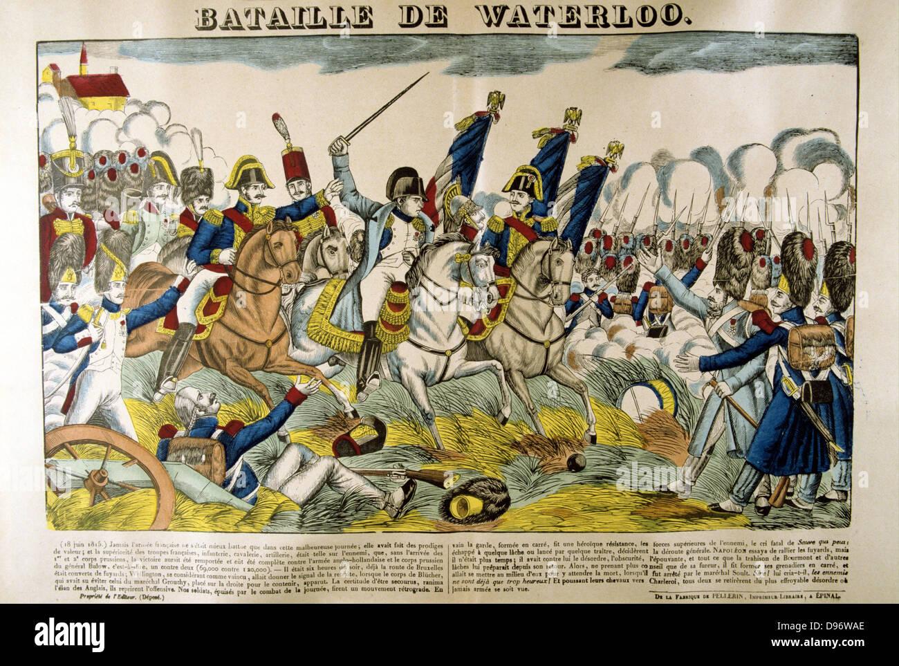 Napoleón en la batalla de Waterloo, el 18 de junio de 1815. Francés popular xilografía coloreada a mano. Foto de stock