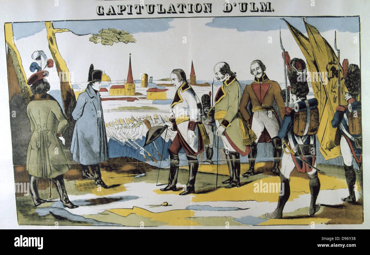 Napoleón I recibir la capitulación de Ulm. La batalla de Ulm, 16-19 de octubre de 1805. El resultado fue Imagen De Stock