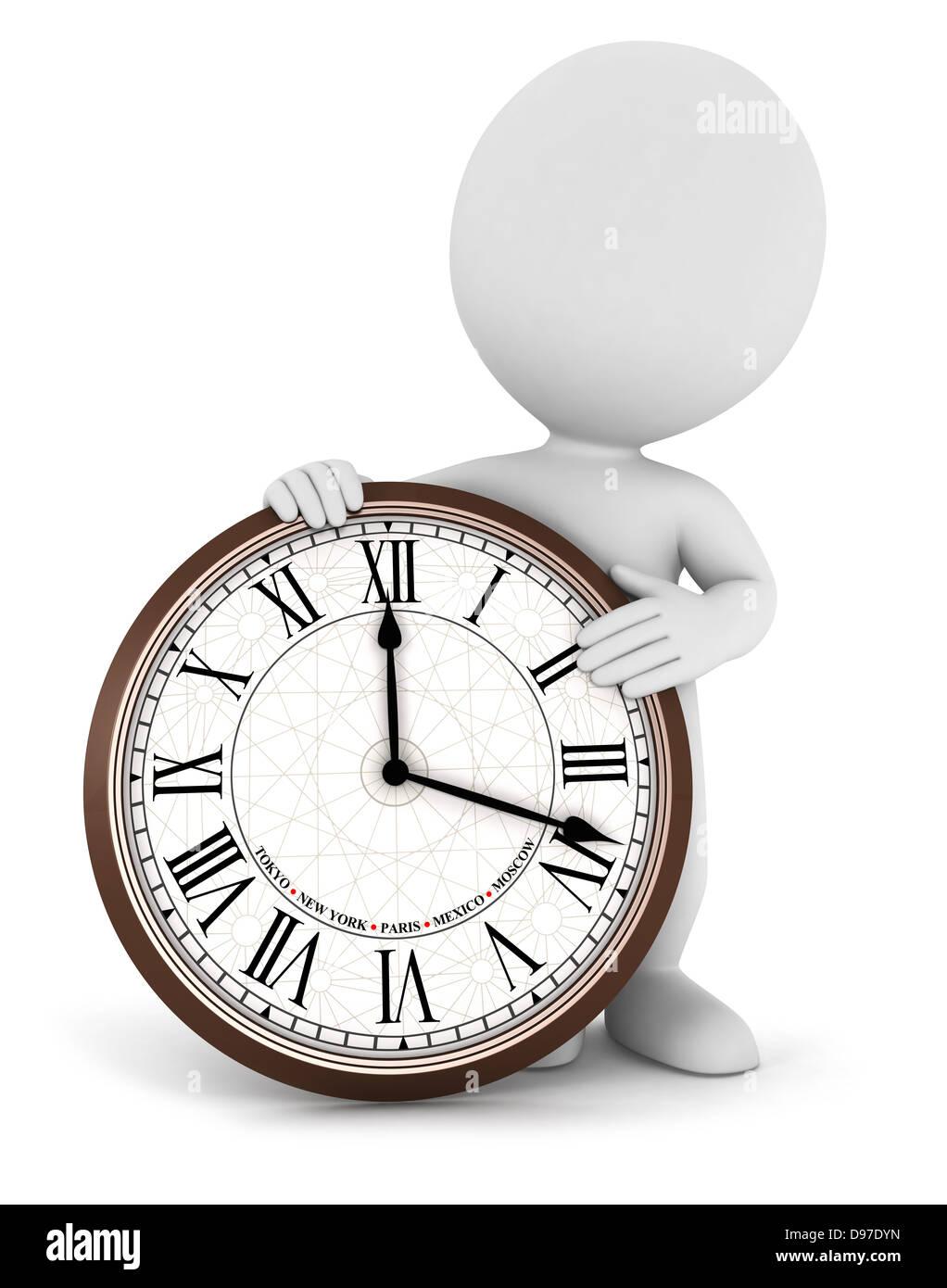 3d La Gente Blanca Con Números Romanos En Un Reloj Aislado Fondo