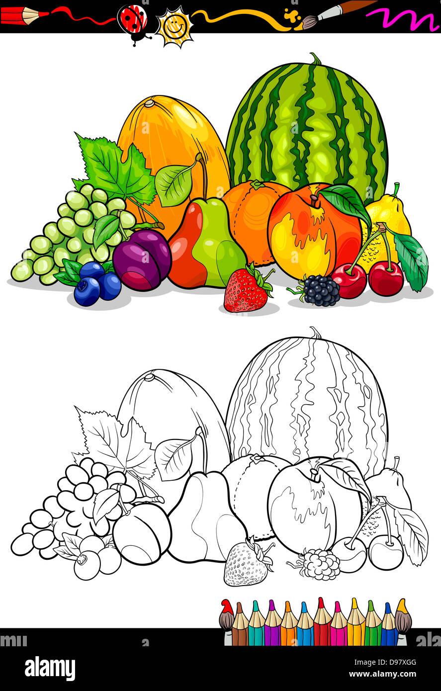 Libro Para Colorear O Página Cartoon Ilustración De Frutas Grupo De