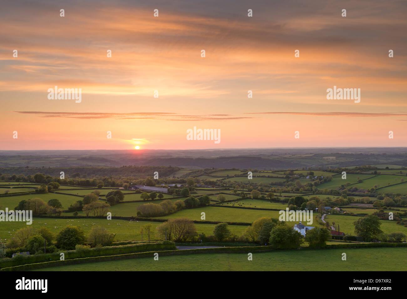 Puesta de sol más hermosa campiña de Devon rodante, Devon, Inglaterra. Verano (junio de 2013) Imagen De Stock
