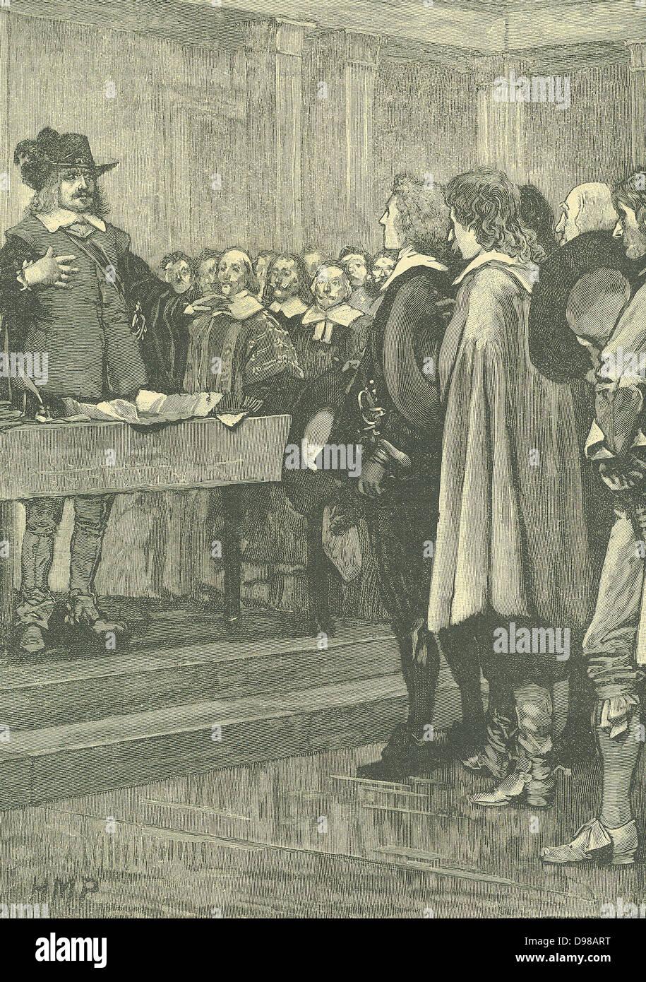 Oliver Cromwell (1599-1658) estadista inglés. Lord Protector (1653-1658). Cromwell negarse la corona, 1657. Grabado Foto de stock
