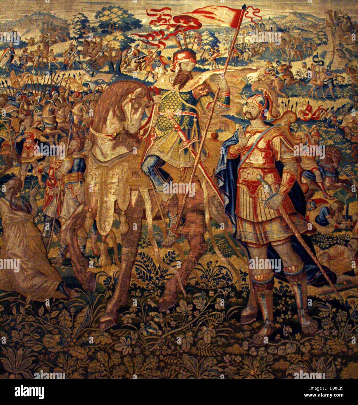 Godefroy de Bouillon. Con un diseño similar a la del rey David, este tapiz muestra el cruzado Godefroy de Bouillon Imagen De Stock