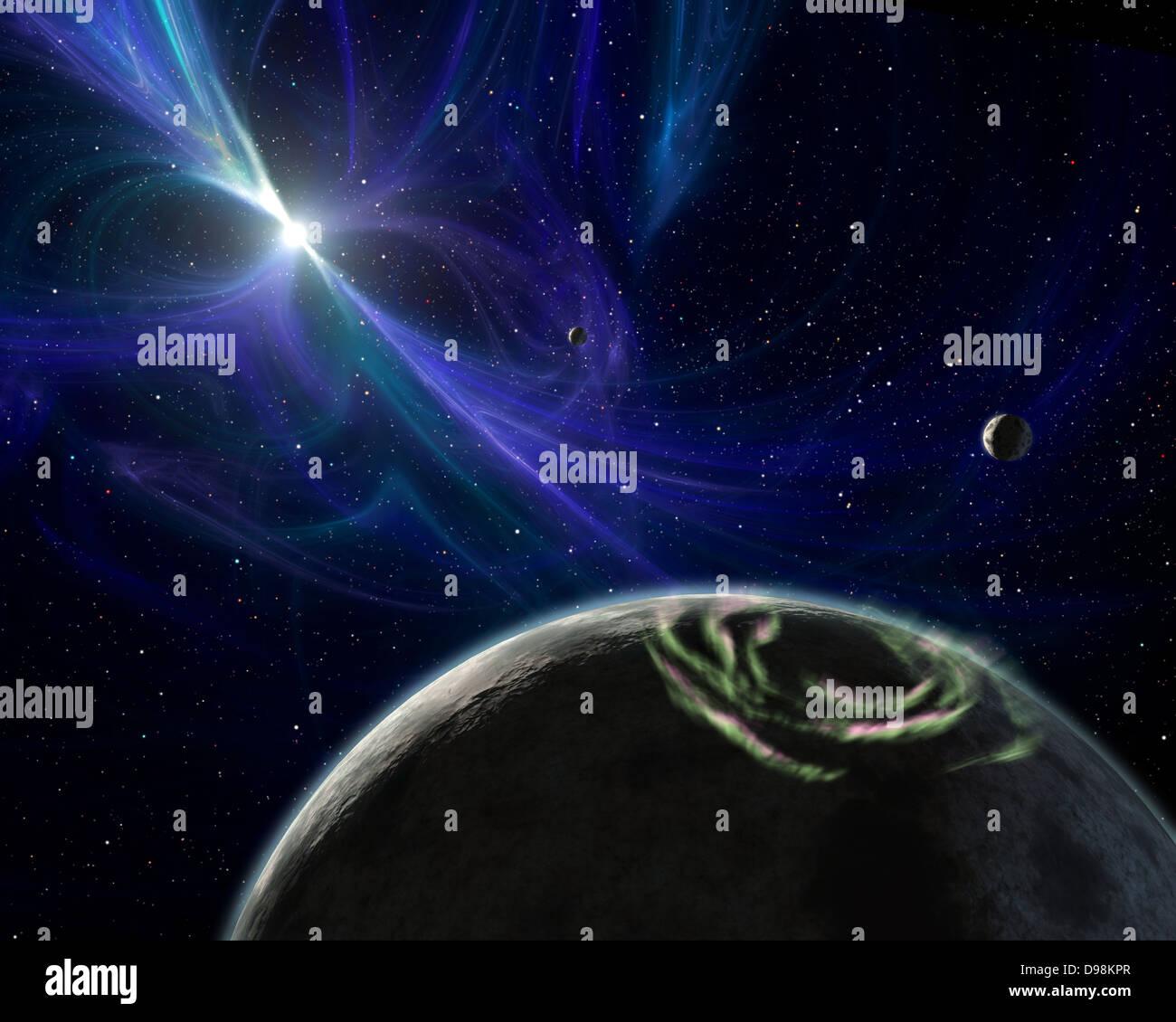 Concepción artística del sistema planetario de pulsares descubiertos por Aleksander Wolszczan en 1992. Imagen De Stock