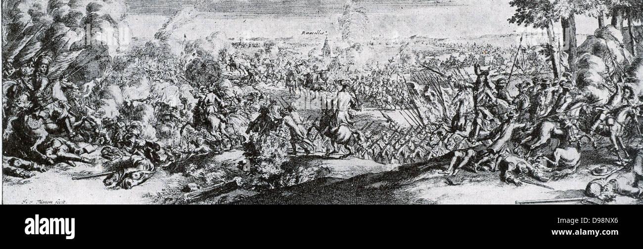 La batalla de Ramillies fue un importante compromiso de la Guerra de Sucesión Española, combatió Imagen De Stock