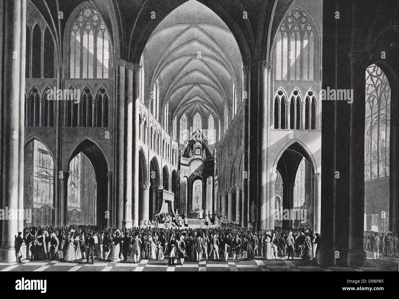 Te Deum pública celebrada para la inauguración del rey Guillermo I de los Países Bajos en Bruselas1815. Imagen De Stock