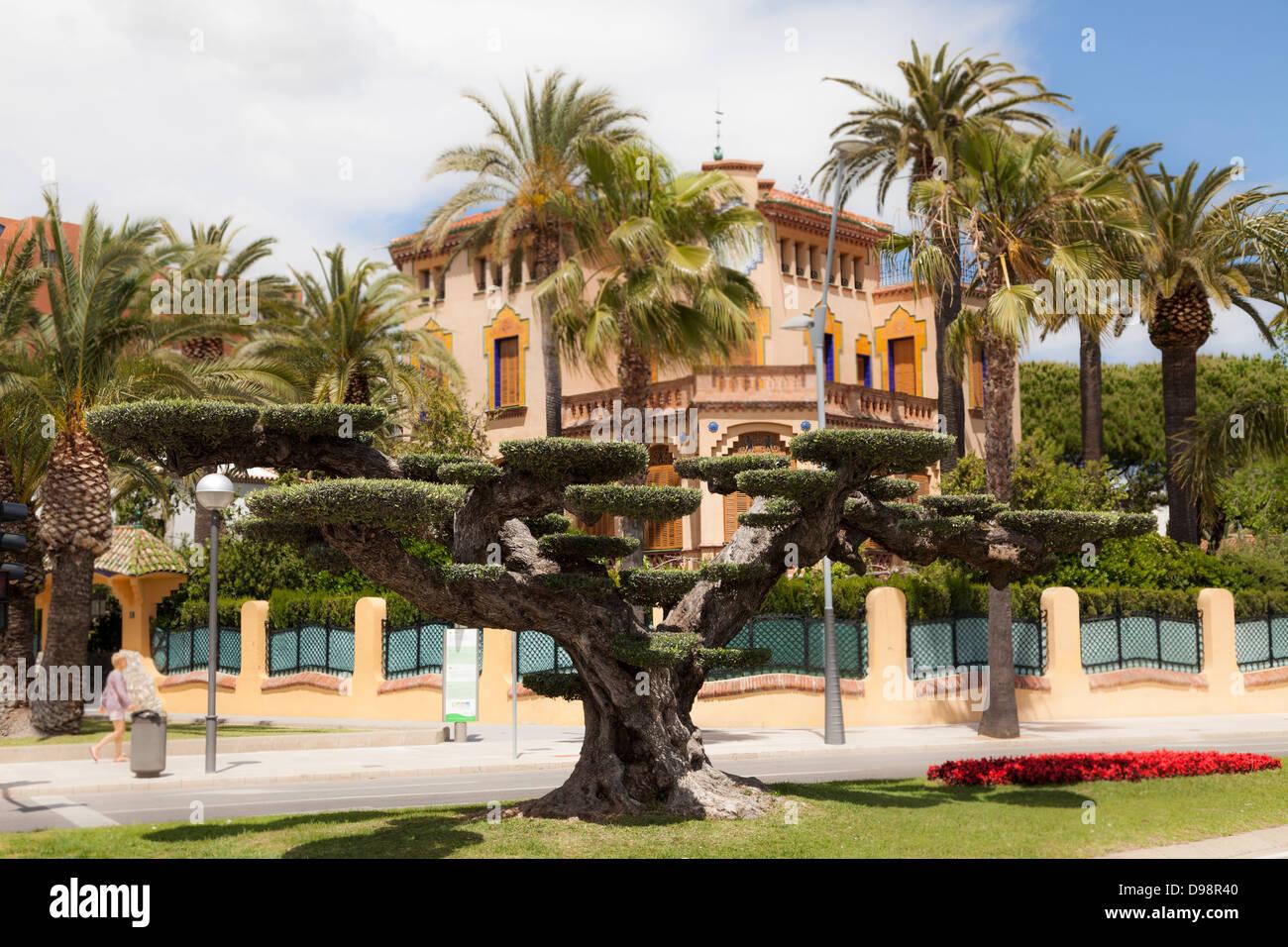 Árbol topiary y xalet bonet construido por Ciriac Bonet modernismo tardío arquitectura en Salou España Imagen De Stock