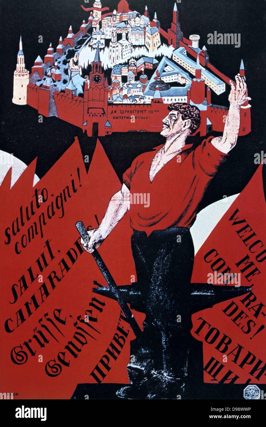 """Bienvenidos compañeros! Larga vida a la tercera internationale"""", 1920. Cartel propagandístico soviético Imagen De Stock"""