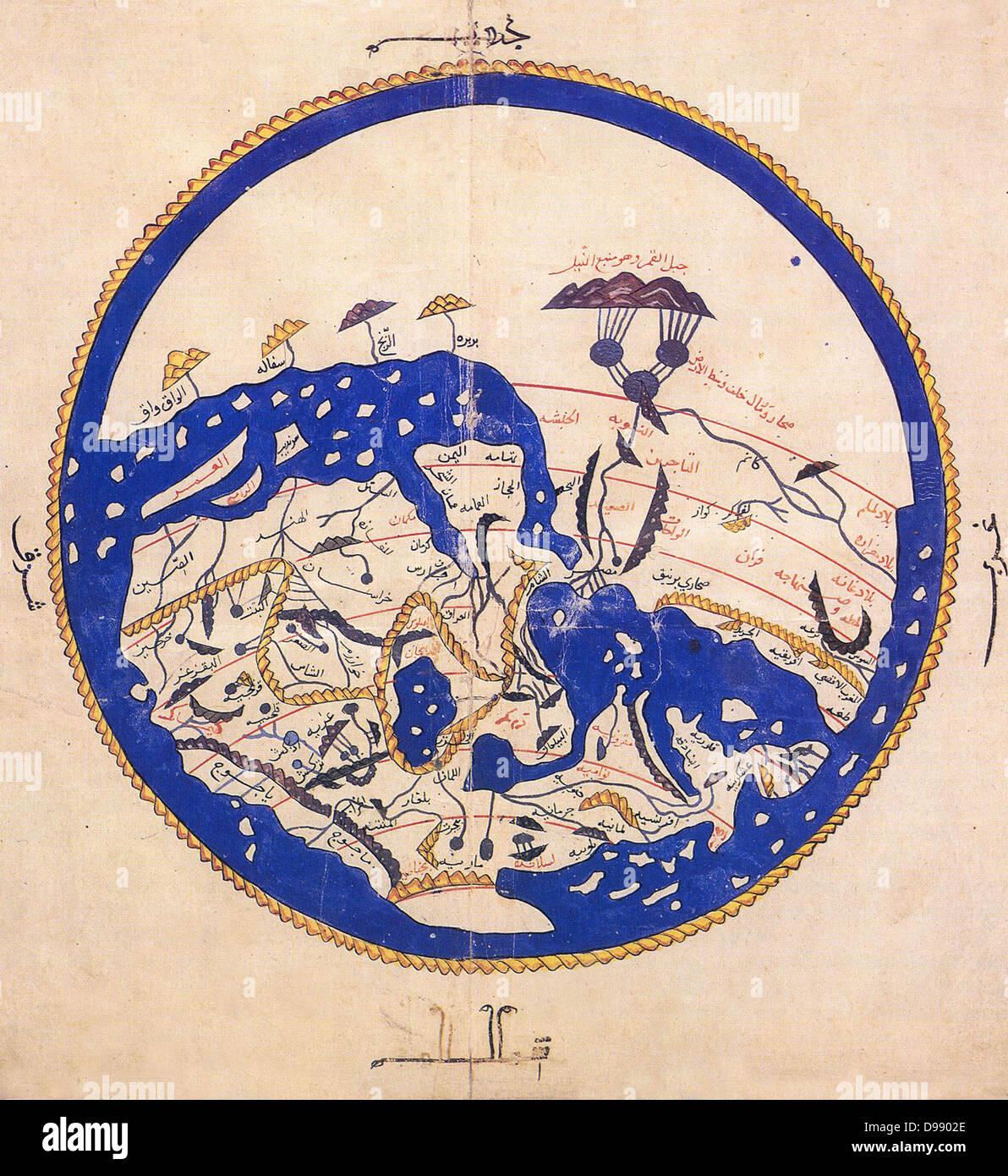 Resumen introductorio Descripción general Mapa de al-Idrisi's 1154 atlas mundial. Tenga en cuenta que el Imagen De Stock