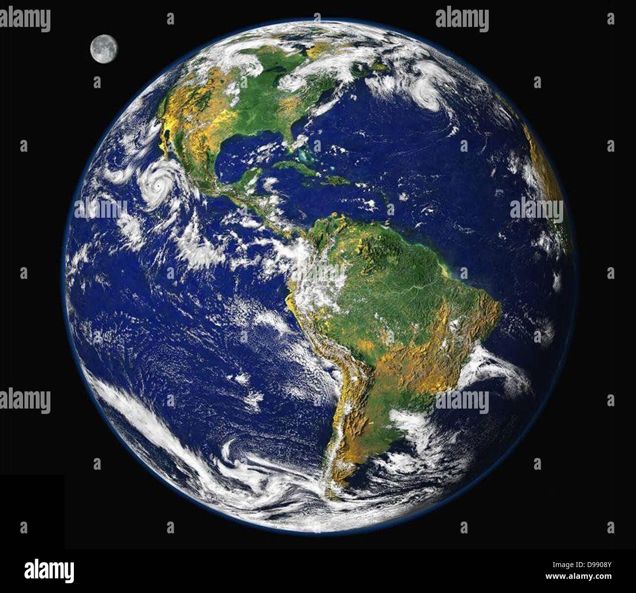 La tierra desde el espacio. Una vista de satélite de las Américas ...