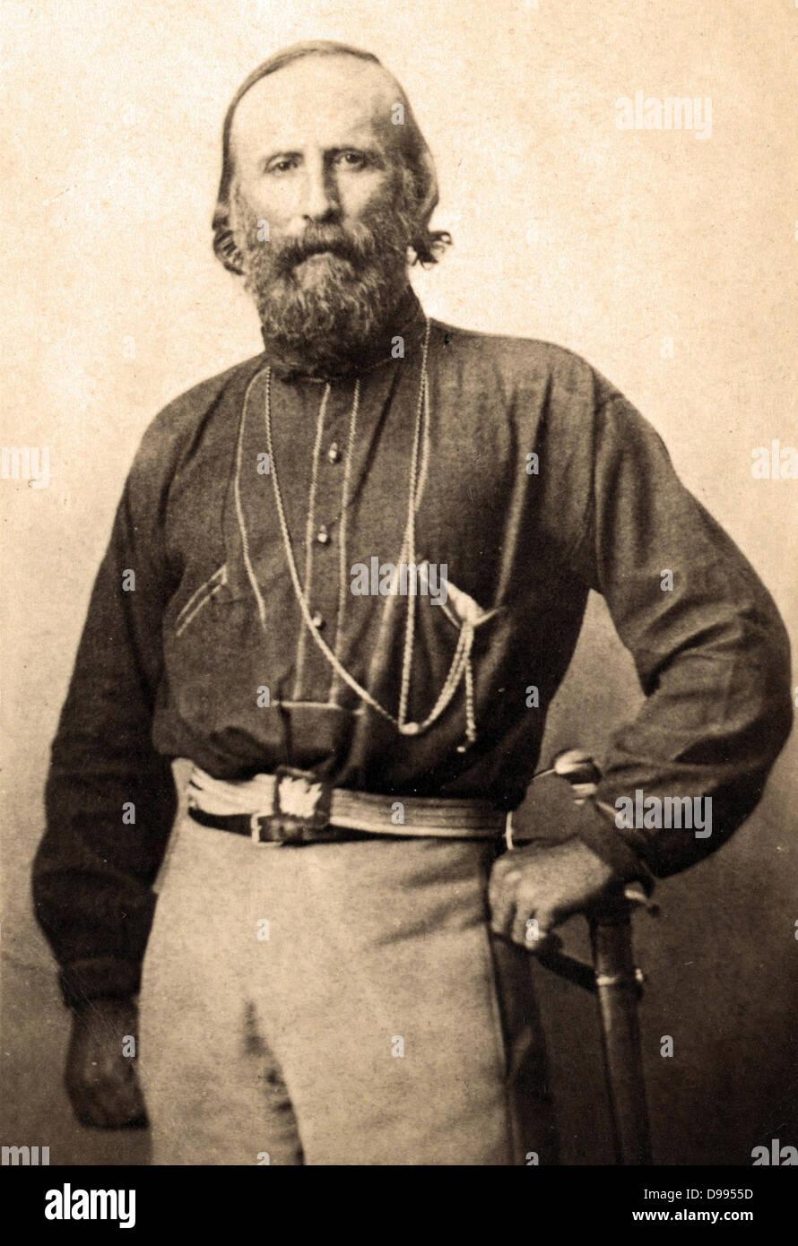 Giuseppe Garibaldi (1807-1882)en Nápoles, Italia, 1861. Soldado italiano, nacionalista y político. Retrato Imagen De Stock
