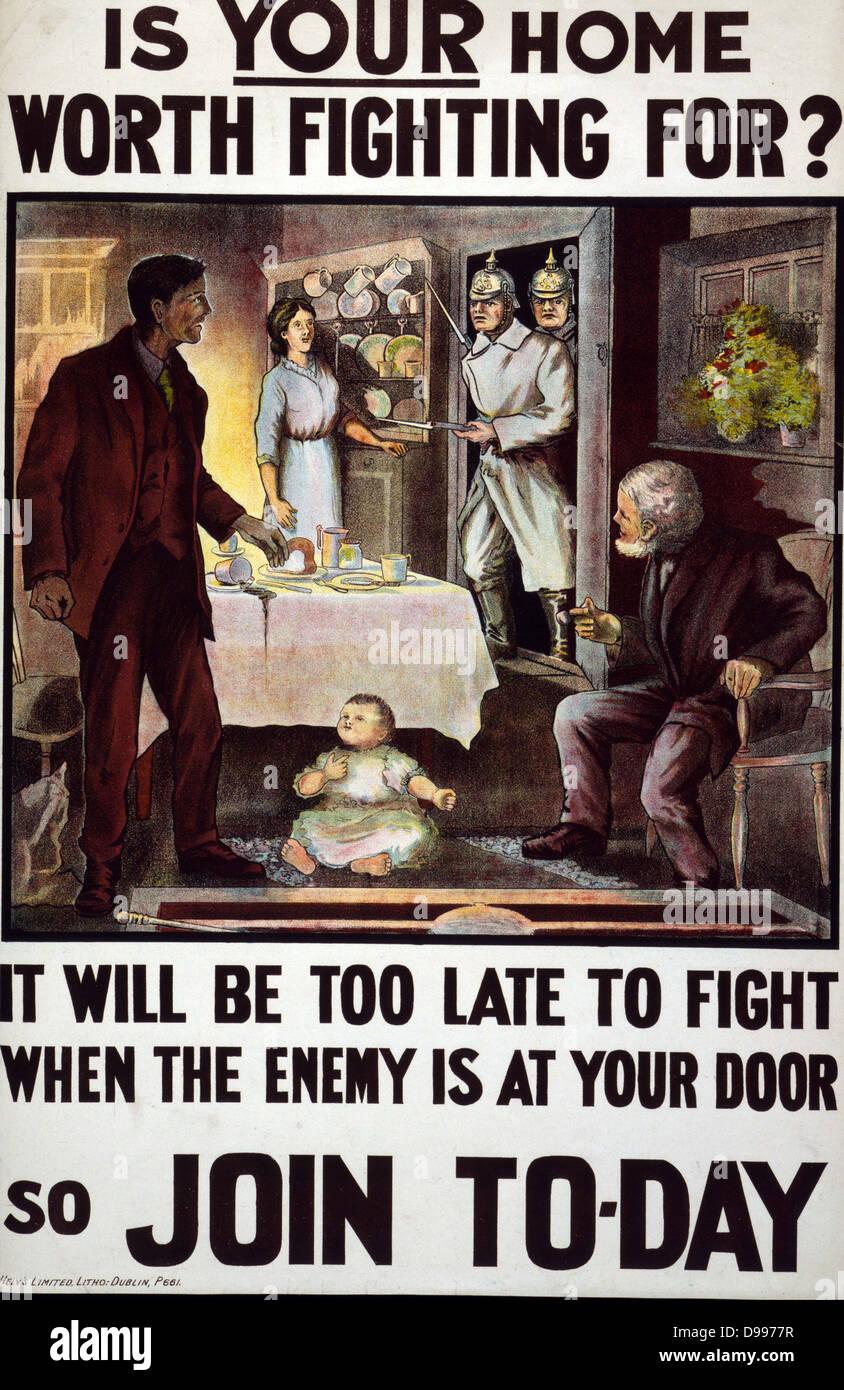 Es tu casa vale la pena luchar? Será demasiado tarde para luchar cuando el enemigo está en la puerta de su casa, Foto de stock