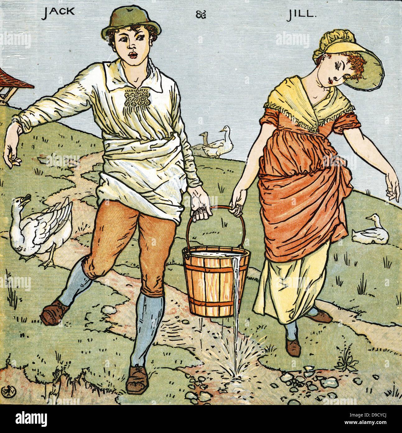 Jack y Jill/subió a la colina o a buscar un balde de agua. Engllish rima musical que datan de la primera mitad Imagen De Stock