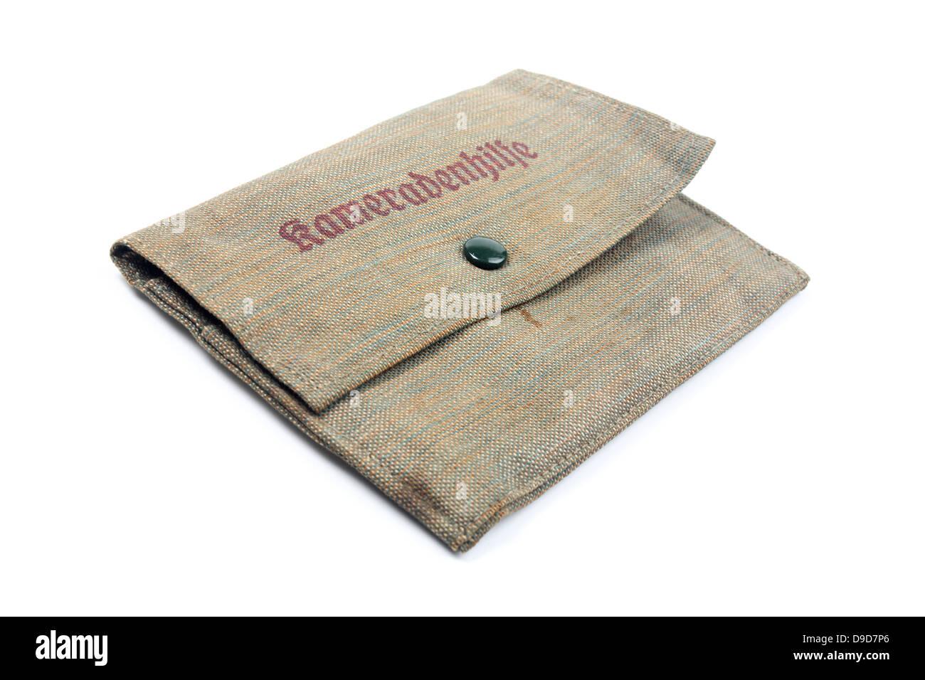Material antiguo de bolsillo con la ayuda de la etiqueta - Companion Imagen De Stock