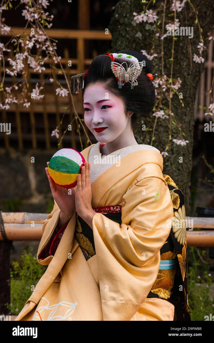 Geisha Real posando ante un árbol de cerezo en flor en el barrio de Geisha de Gion en Kyoto, Japón Imagen De Stock