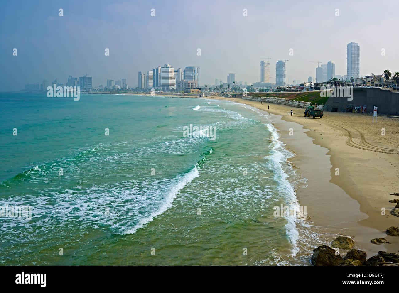 Vista desde Jaffa al skyline de Tel Aviv, Israel Imagen De Stock