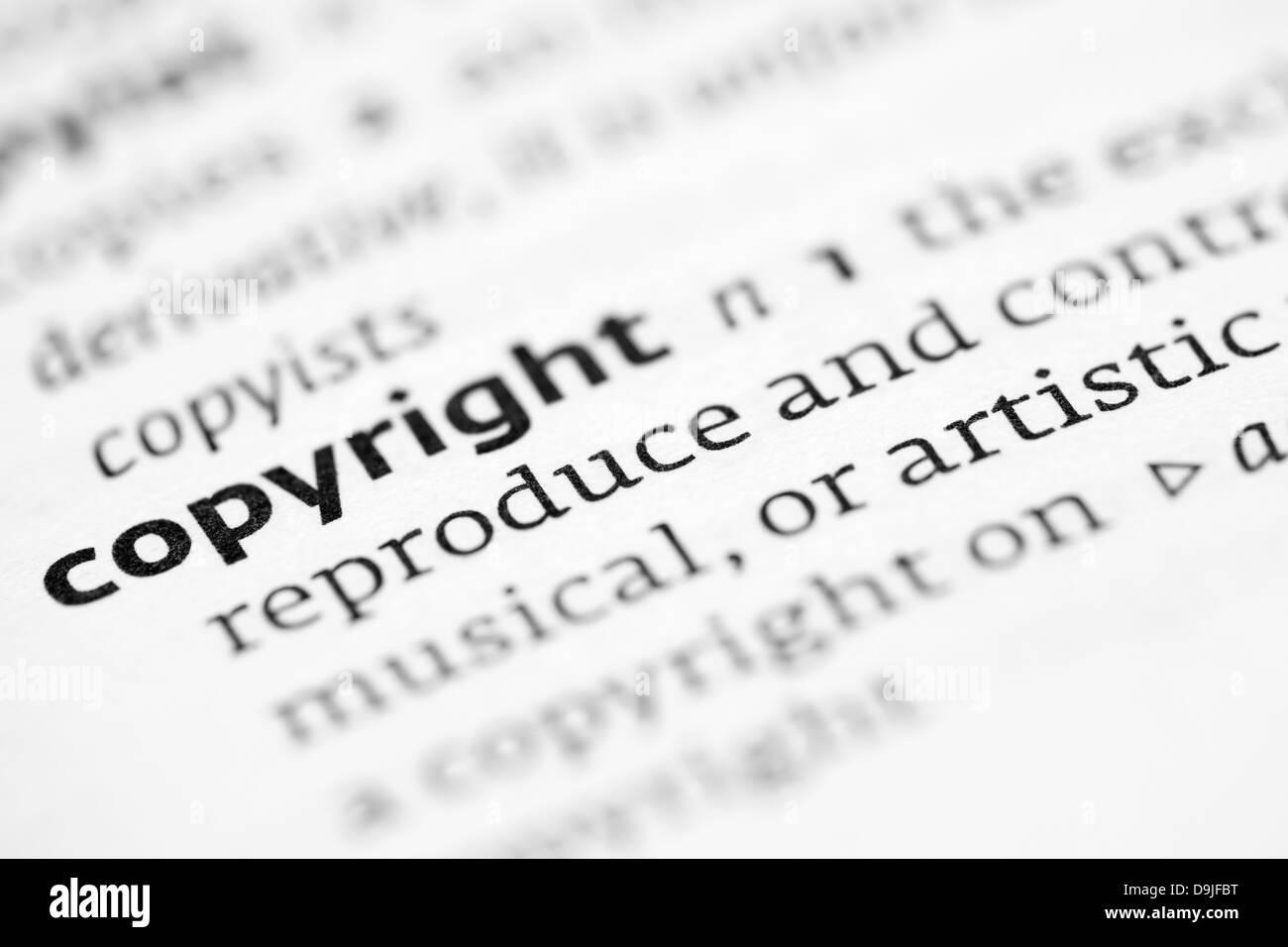 Copyright definición en un diccionario. Foto de stock