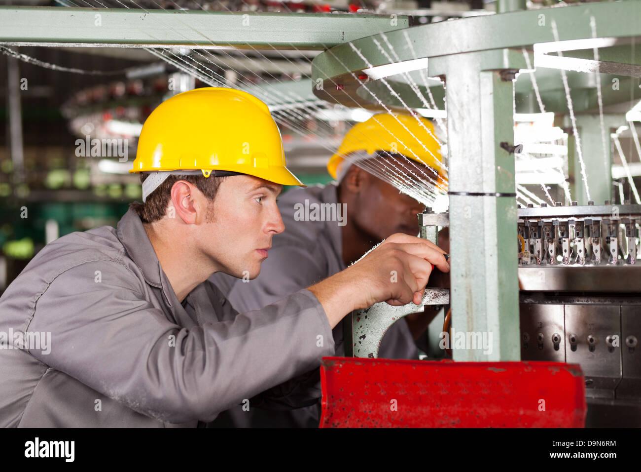 Dos telares textil telar reparación mecánica Imagen De Stock