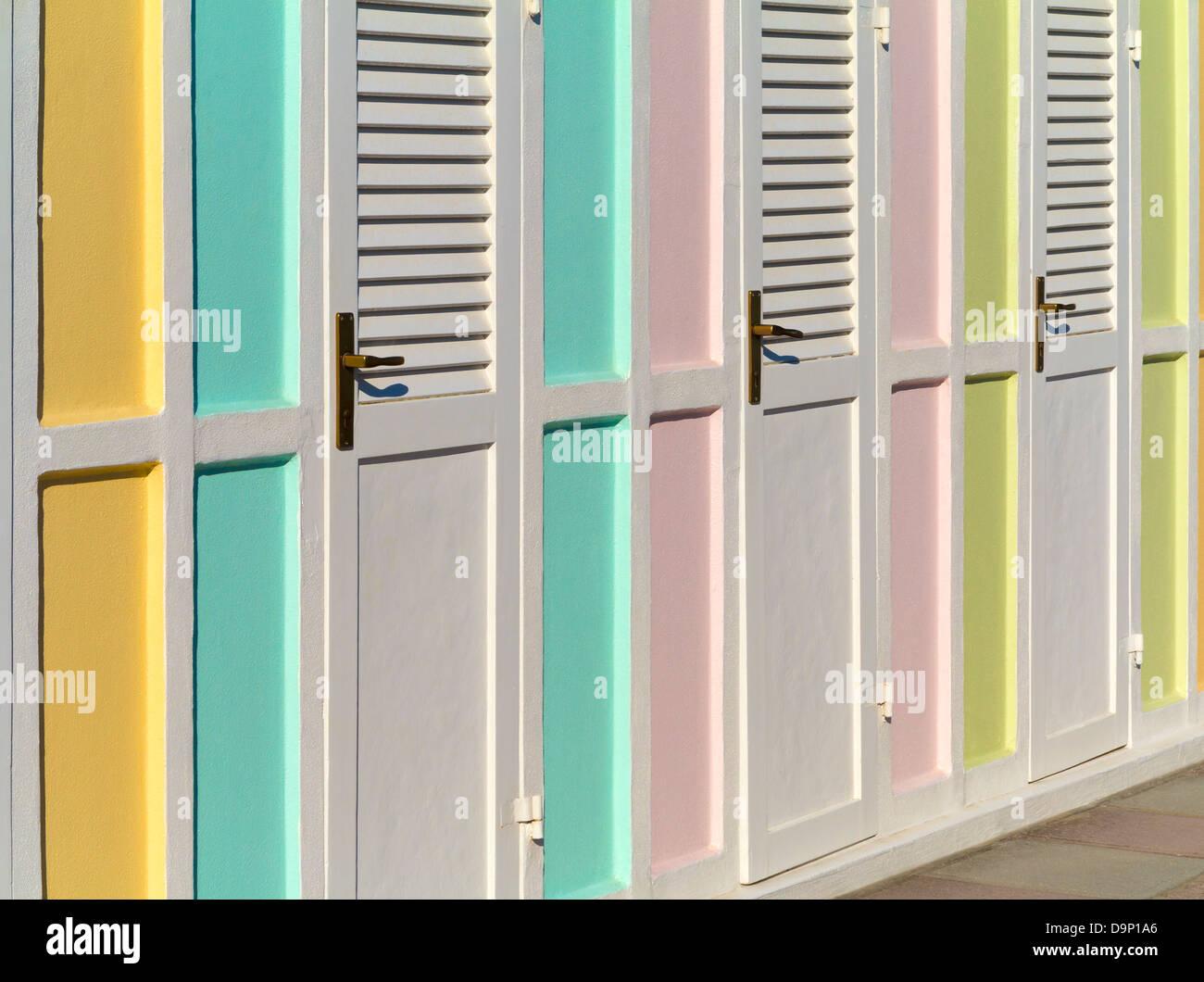 Cabañas de playa, Riccione, Italia Foto de stock