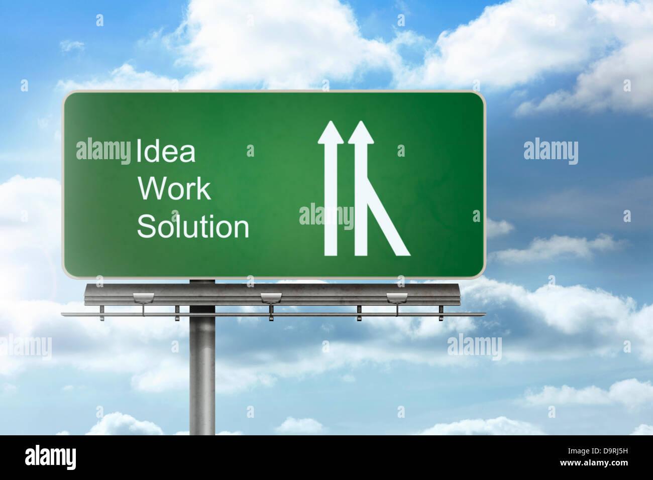 Cartel que indica la dirección de idea y solución de trabajo Imagen De Stock