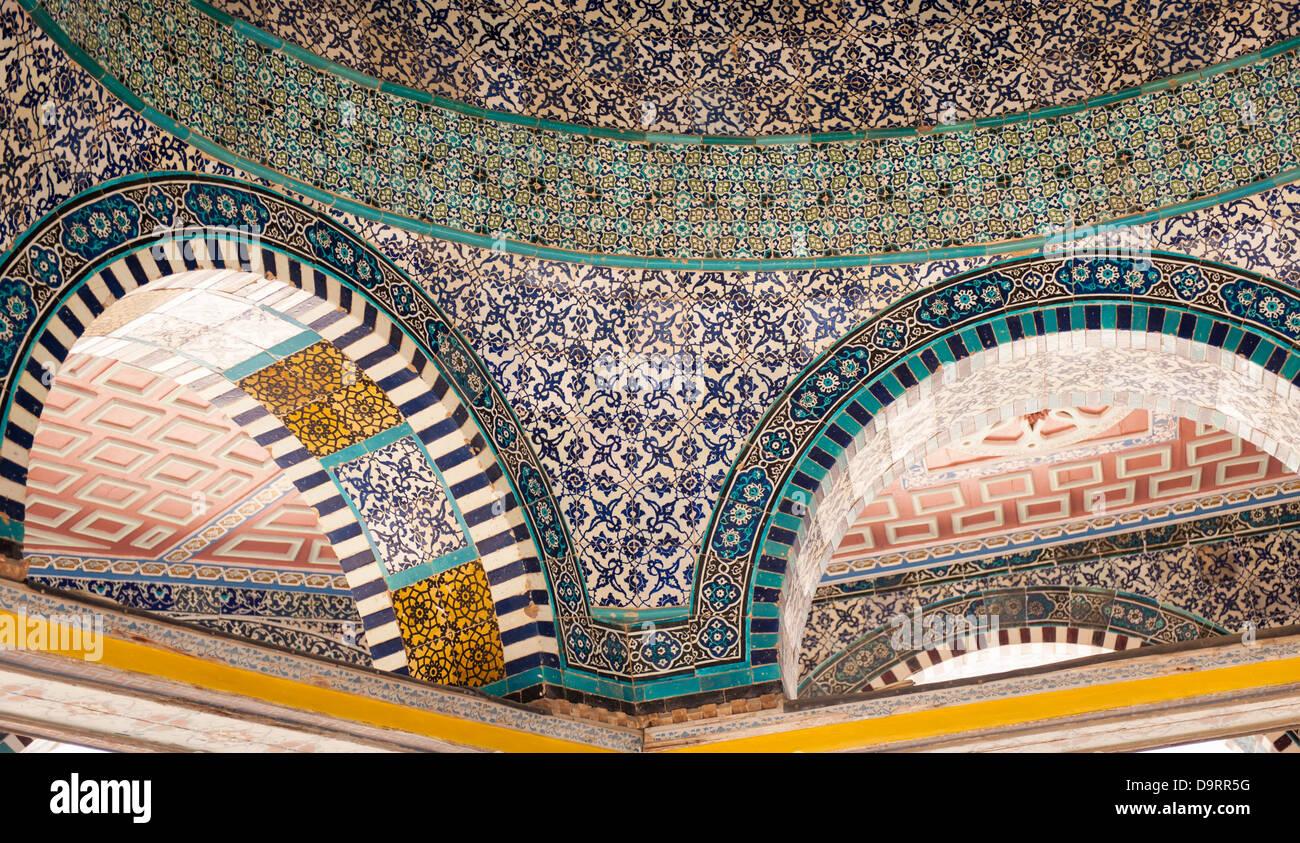 Israel ciudad vieja Jerusalén Haram esh Sharif Noble Santuario del Monte del Templo, la cúpula de la cadena detalle Foto de stock