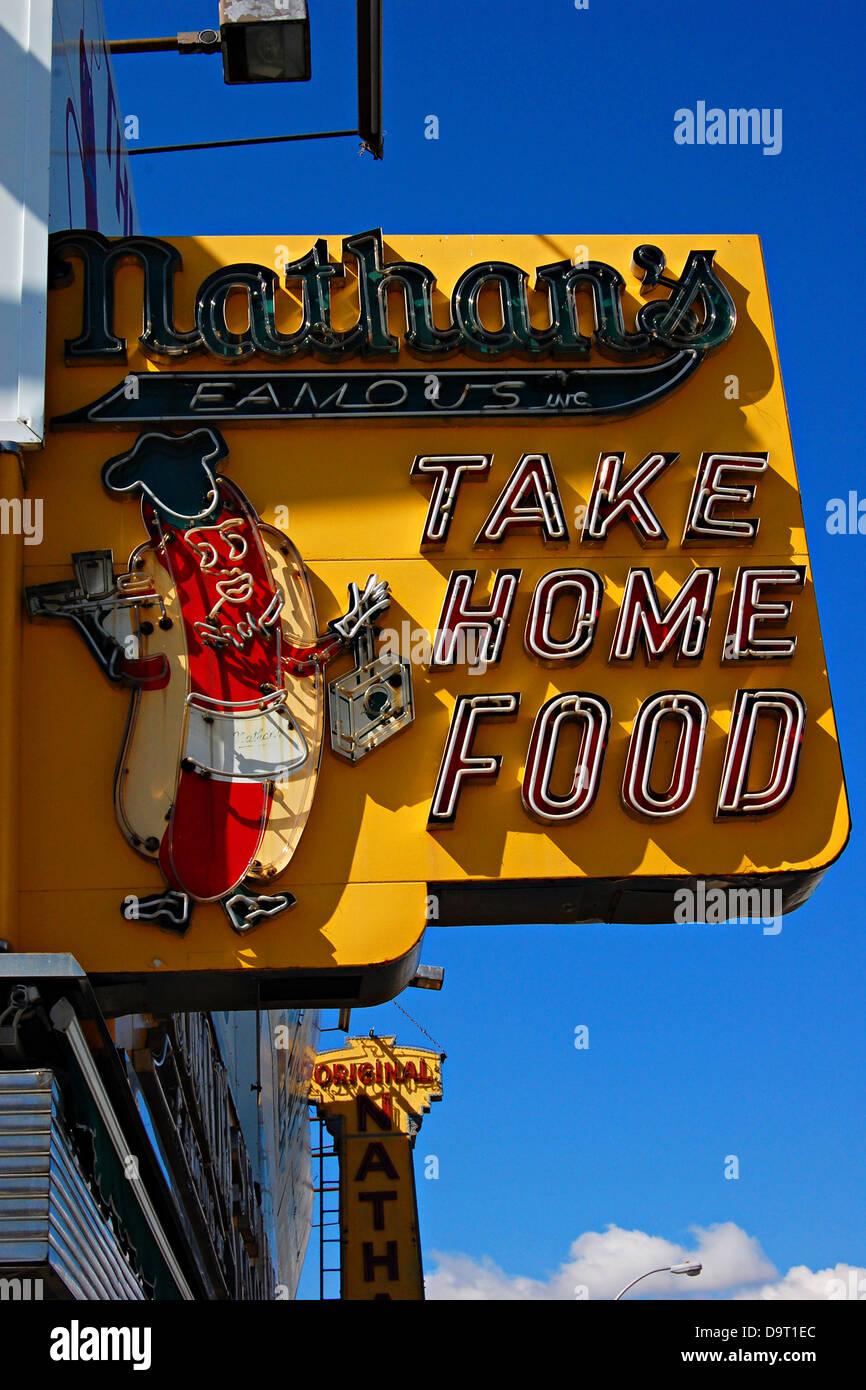 Nathan's de Coney Island, Nueva York Foto de stock