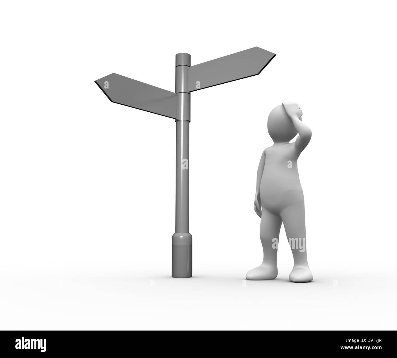 Representación humana blanca perdida mirando en blanco signpost Foto de stock