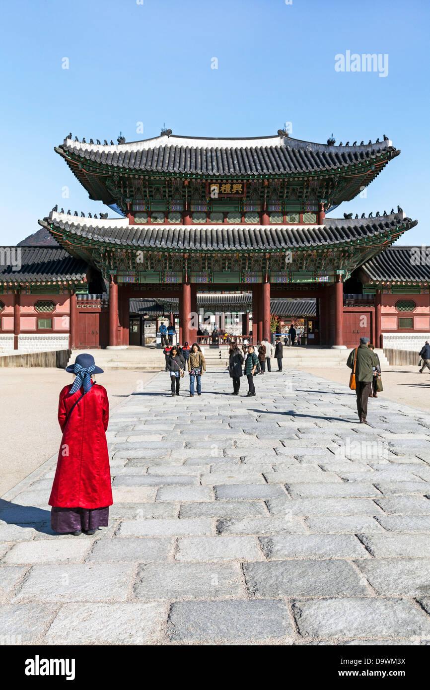 El Palacio Gyeongbokgung, el Palacio de la felicidad resplandeciente, Seúl, Corea del Sur, Asia Imagen De Stock