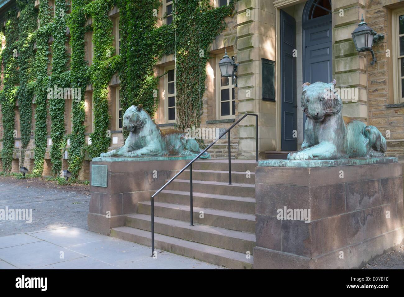 Nassau Hall con tigres de bronce, de la Universidad de Princeton Imagen De Stock