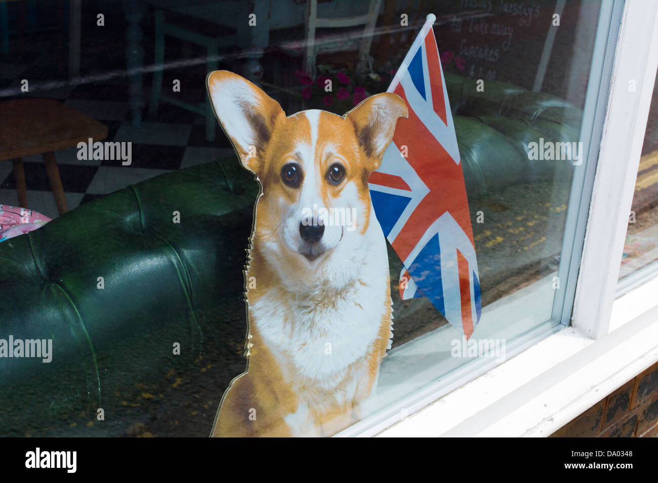 Cartón corgie con Union Jack Ironbridge Shropshire UK Foto de stock