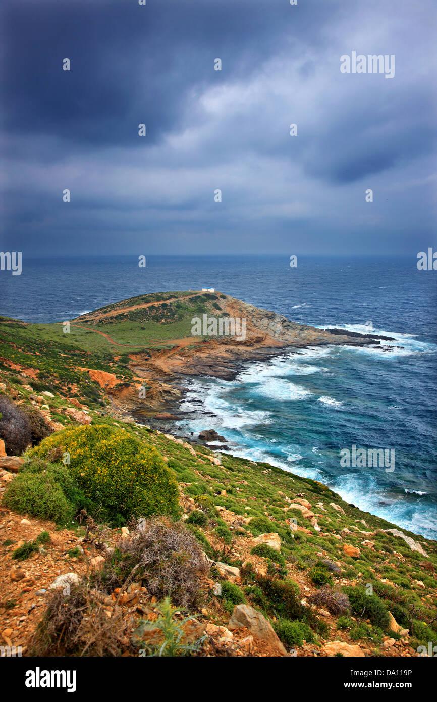 La notoria Cavo d' Oro Kafireas (Cape) en el extremo sur de la isla de Evia, Grecia Central Imagen De Stock