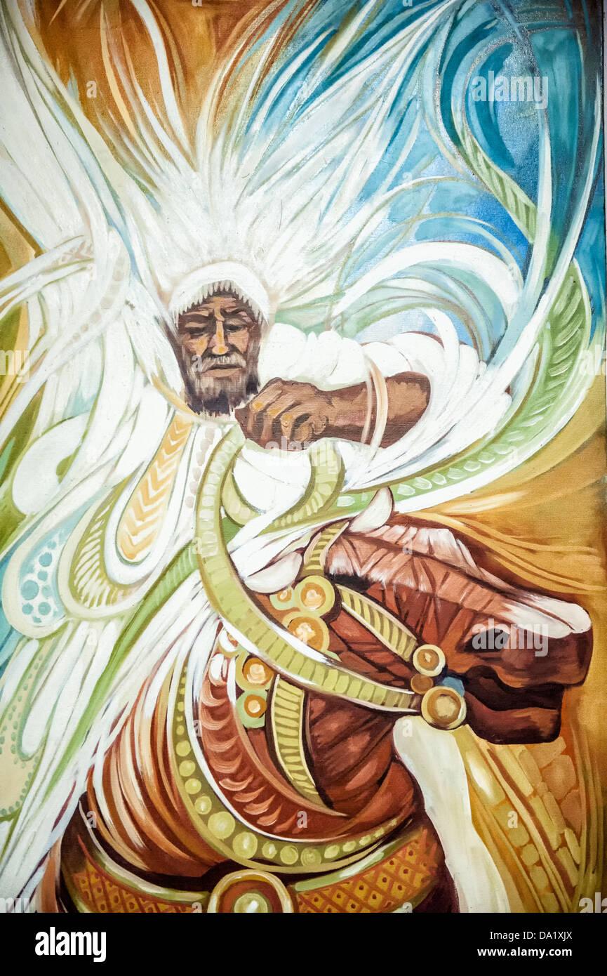 Pintura de un jinete por un artista Etíope, Museo Nacional de Etiopía, en Addis Abeba, Etiopía Imagen De Stock