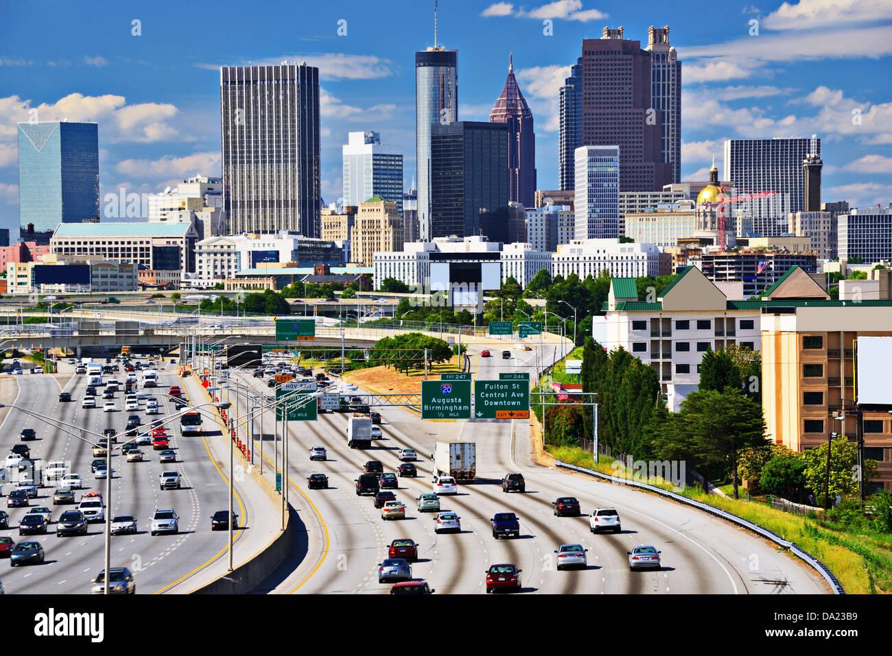 Perfil del centro de la ciudad de Atlanta, Georgia. Imagen De Stock
