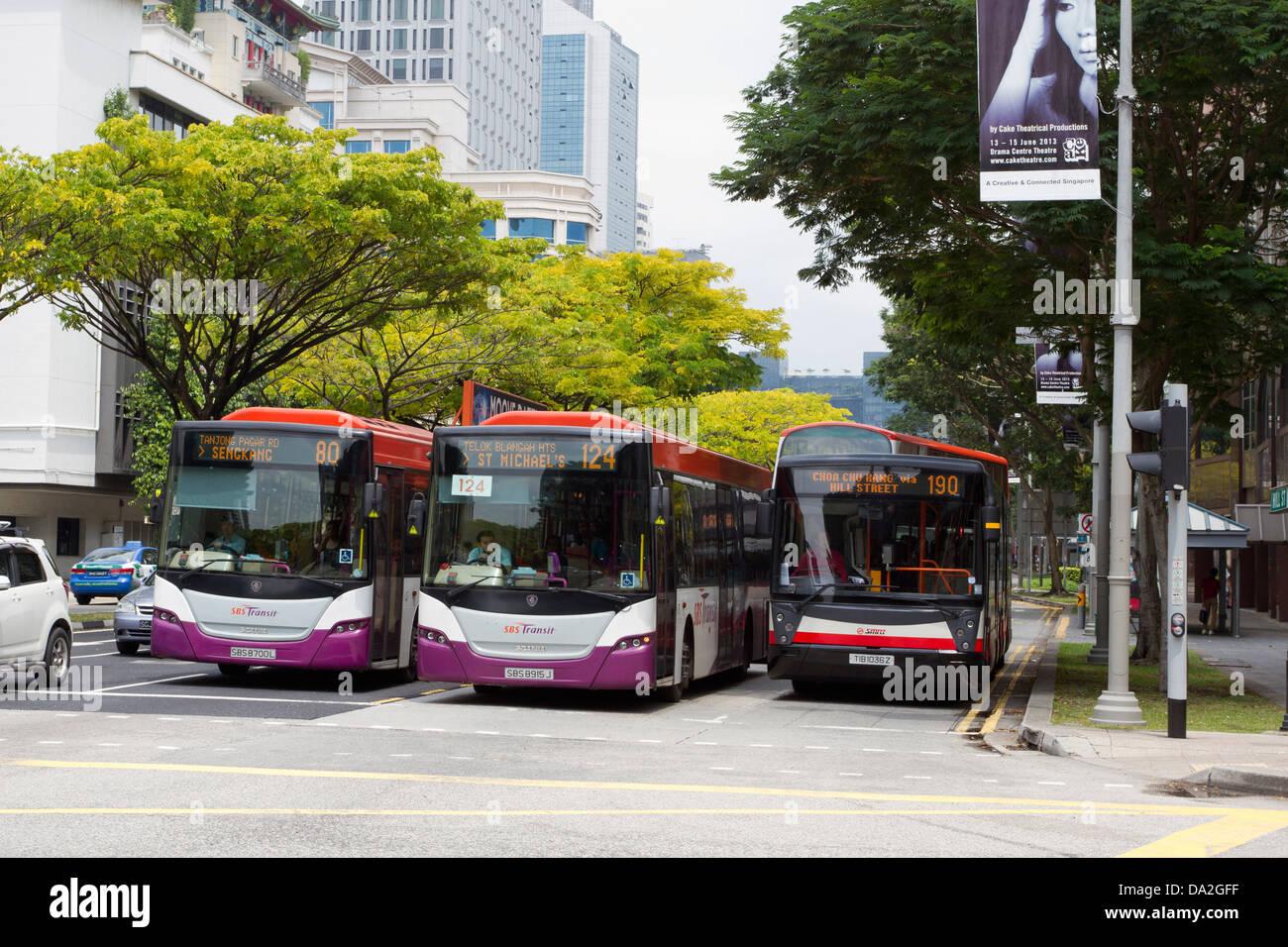 3 autobuses en una parada/luz roja cartel en una carretera principal, Singapur Imagen De Stock