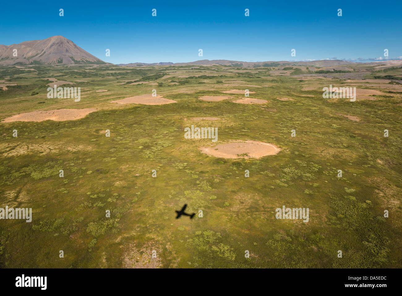 Antena de sombra de aviones en el norte de Islandia Imagen De Stock