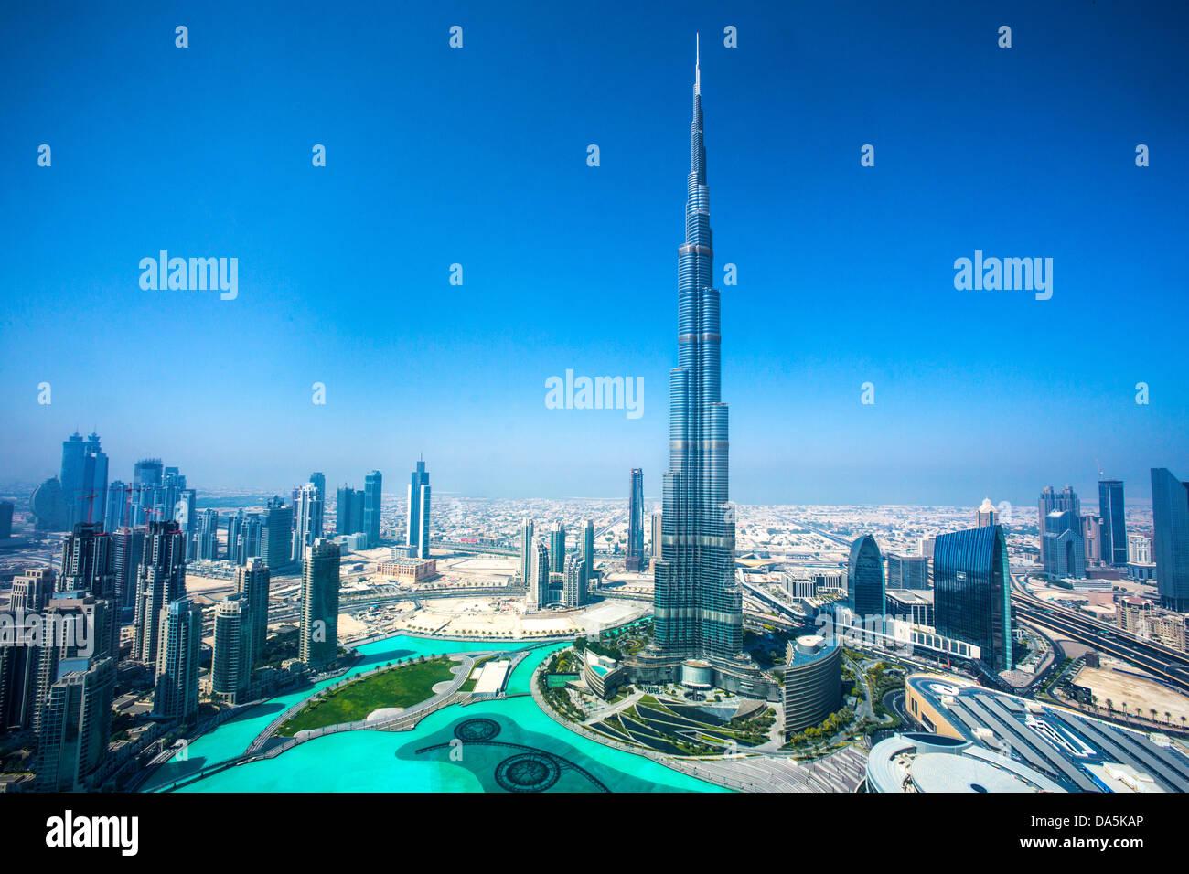 Emiratos Árabes Unidos, EAU, Dubai, Burj Khalifa, Ciudad, arquitectura, centro, desierto, en el centro de la ciudad, Foto de stock