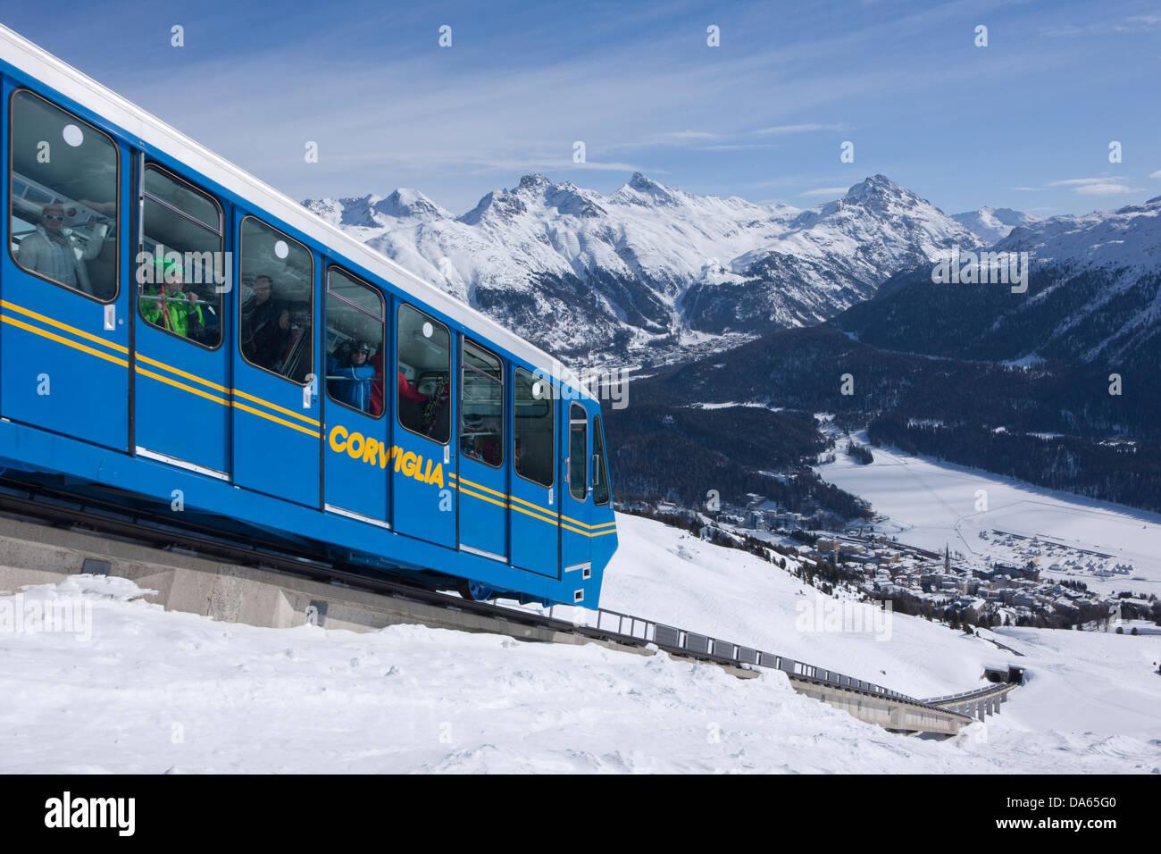 Corvigliabahn, deportes de invierno, cantón, GR, cantón de Los Grisones, Grisones, Engadin, Engadin, Oberengadin, Imagen De Stock