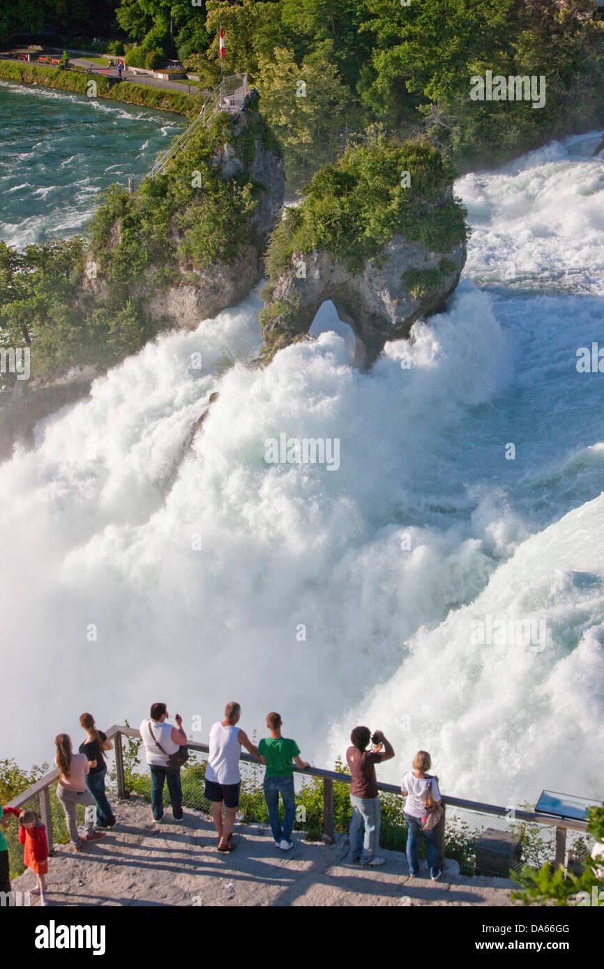 Rin cae, Schaffhausen, agua, cascada, cantón, SH, Schaffhausen, cantón, ZH, Zurich, Rin, Suiza, Europa, Imagen De Stock