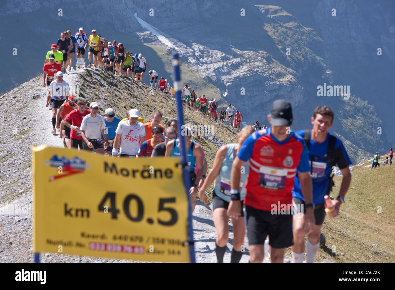 La Jungfrau maratón, maratón de montaña, correr, correr, deporte, más bonitos paisajes de montaña, Imagen De Stock