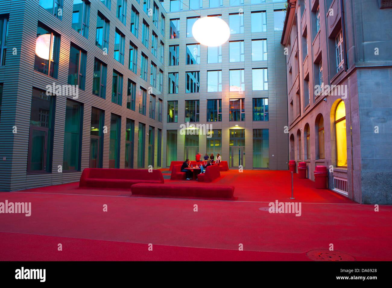San Gallen, San Gall, town lounge, Suiza, Europa, cantón, pueblo, ciudad, al anochecer, la iluminación, Imagen De Stock