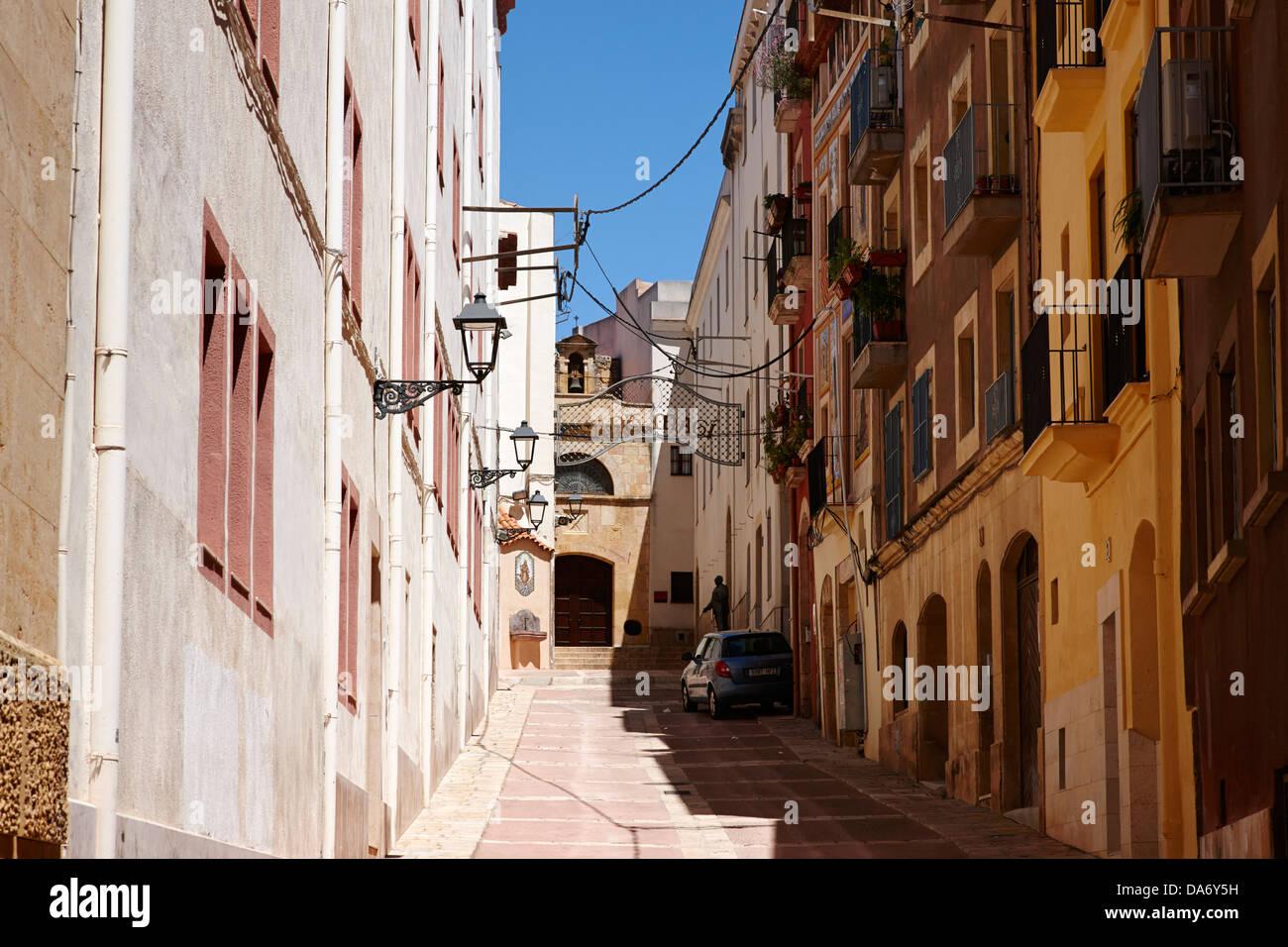 Carrer del portal del carro que conduce a la capilla de Sant magi tarragona cataluña españa Imagen De Stock
