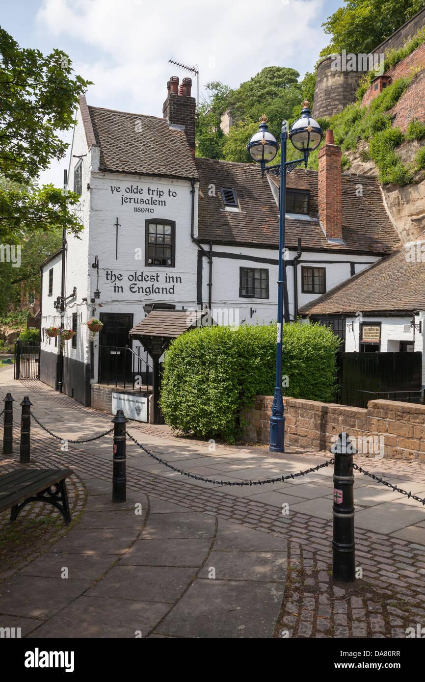 Viaje a Jerusalén Ye Olde Inn, Nottingham, Nottinghamshire, Inglaterra Imagen De Stock